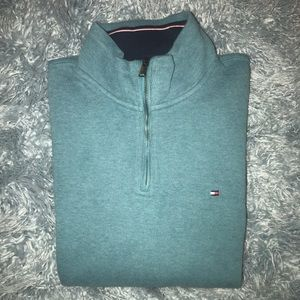 Tommy Hilfiger 1/4 Zip Sweater Teal Green Sz Large